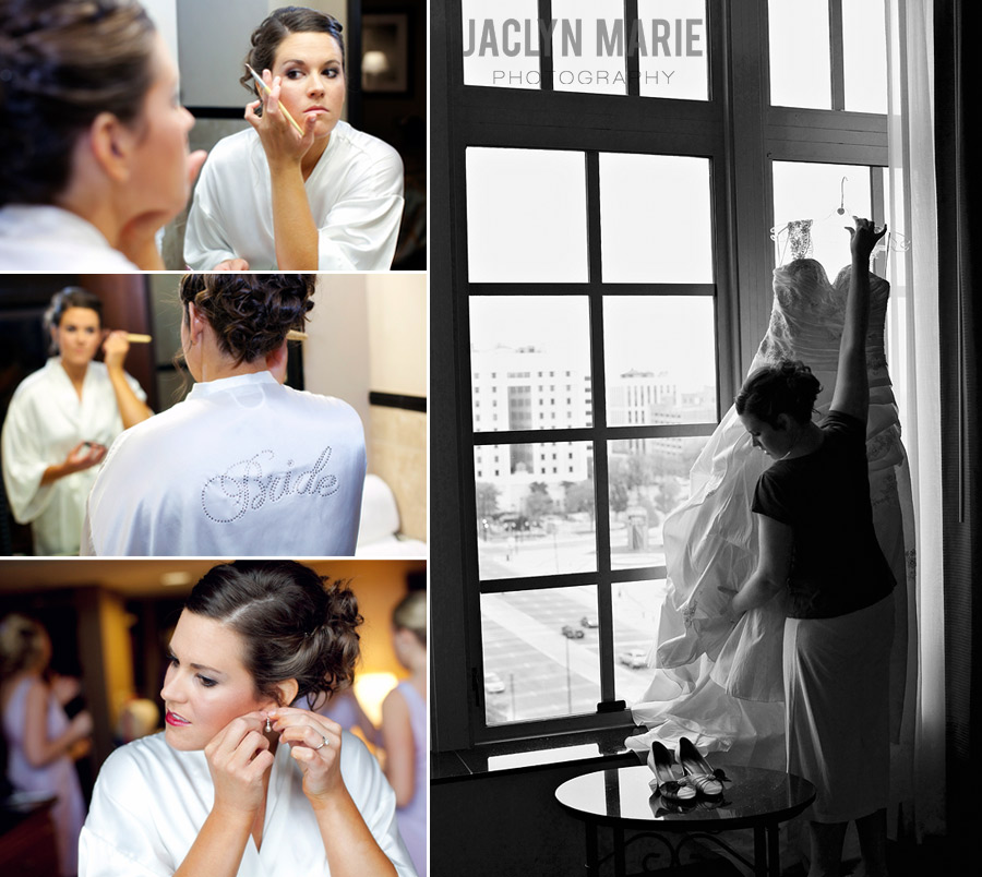 bride getting ready for wedding photo