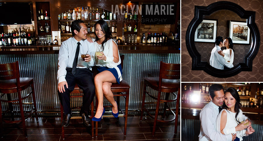 engagement photos at a bar