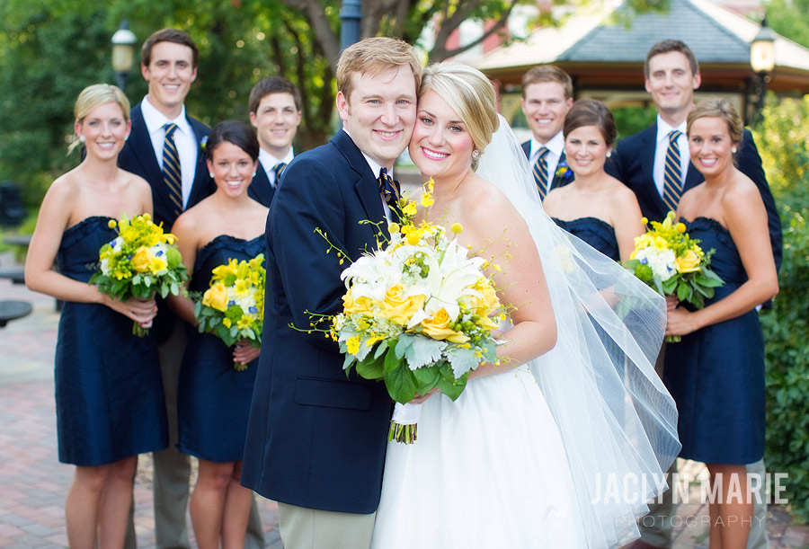 Yellow and navy wedding party photo