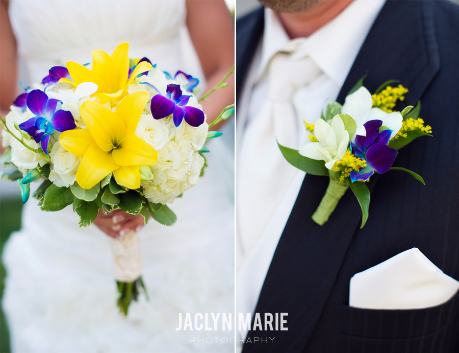 yellow and purple wedding flowers photo