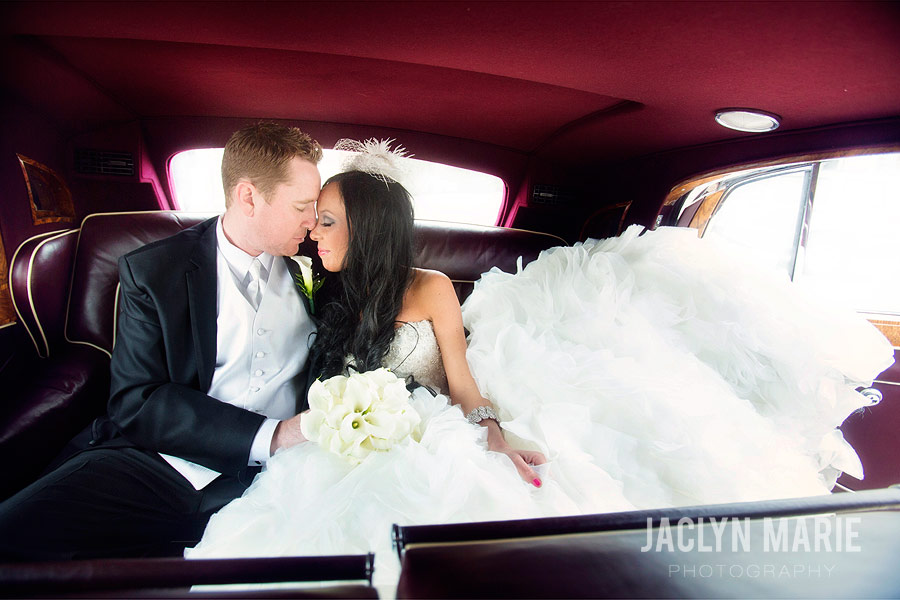 inside car wedding photo
