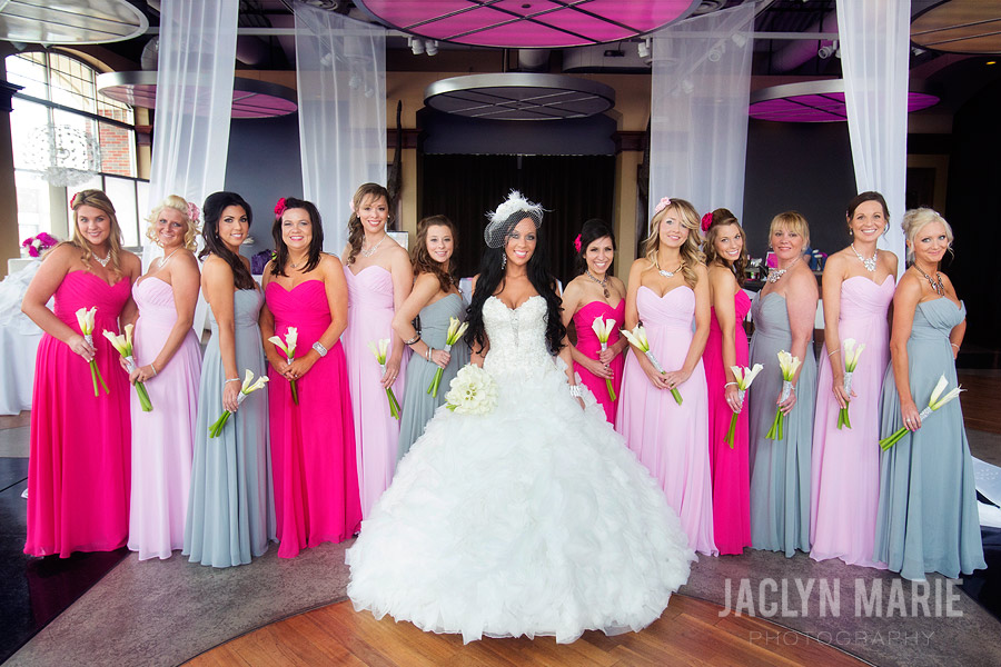 pink and grey bridesmaids dresses photo