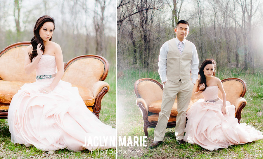 wedding photo with vintage love seat