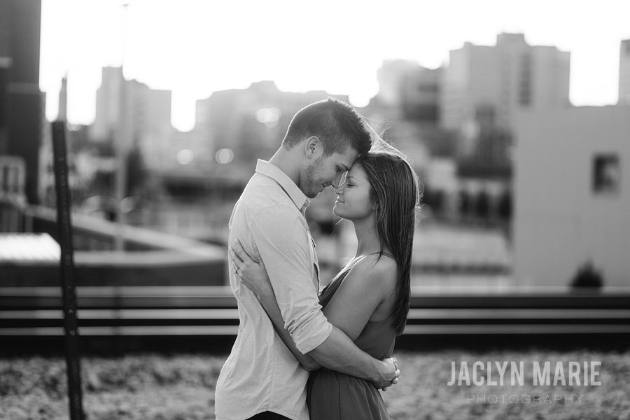 city skyline engagement photo
