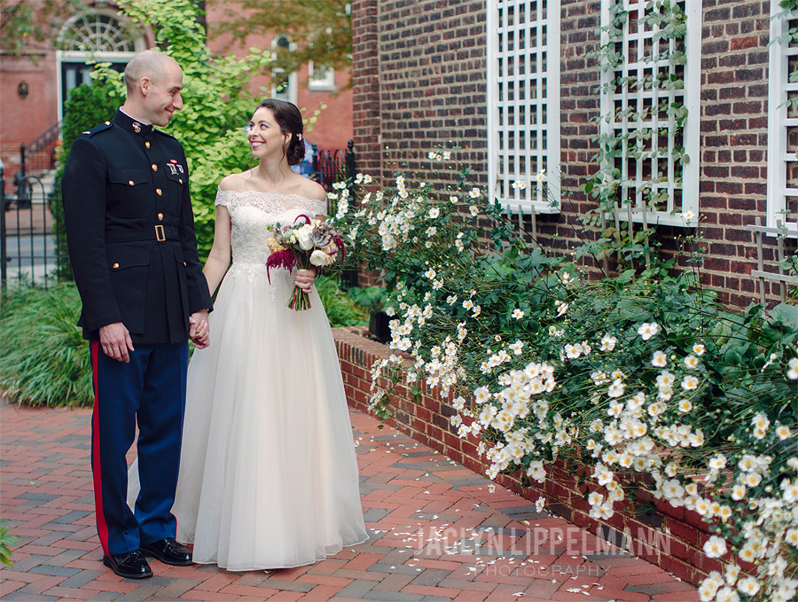 Bride and groom portrait outside of the Basilica of St. Mary in Old Town, Alexandria VA